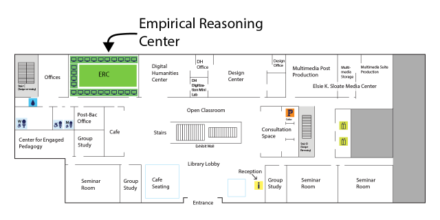 Map of ERC location in Milstein 102. Next door to the DHC and across from Peet's.